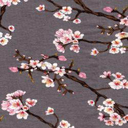 Tissu jersey Sakura fond gris 95%cot/5%el larg 150 cm