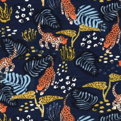 Tissu jersey panthère tropical fond marine