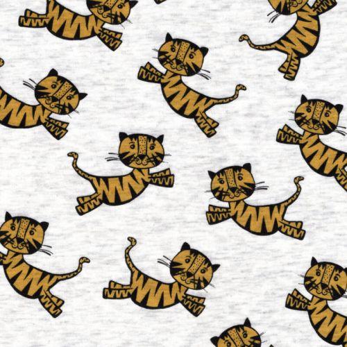 Tissu sweat tigres jaunes fond beige