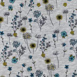 Tissu sweat fleuri bleu fond gris chiné