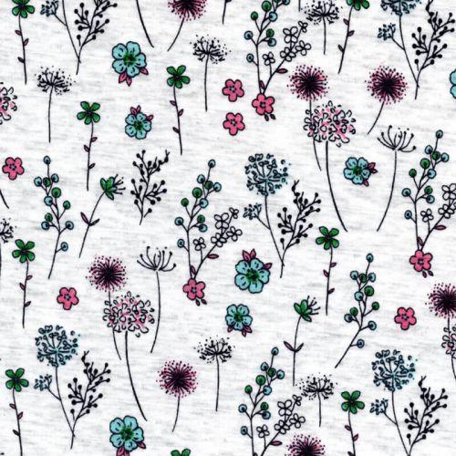 Tissu sweat fleuri vert/rose fond beige chiné