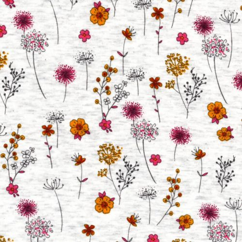 Tissu sweat fleuri jaune/rose fond beige