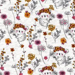 Tissu sweat koalas jaune/rose fond beige
