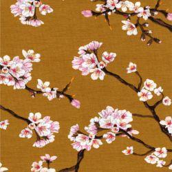 Tissu jersey Sakura fond moutarde