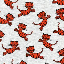 Tissu sweat tigres orange fond gris