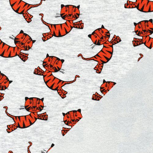 Tissu sweat tigres orange fond gris