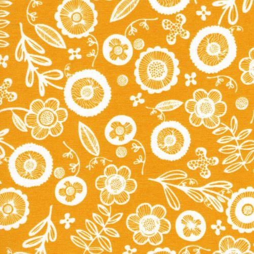 Tissu fleurs blanches fond jaune