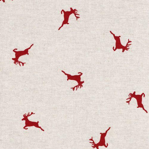 Tissu cerf rouge fond beige