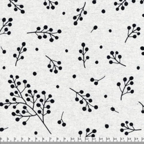 Tissu fleurs de gui lurex argent fd beige 80%cot/20%pes larg