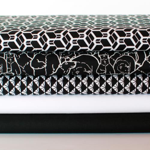 Tissu coton Skew Cube Noir et Blanc