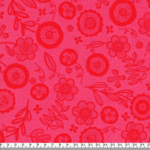 Tissu fleurs rouges fond rose