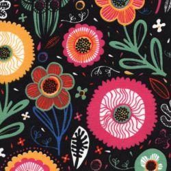 Tissu inspiration scandinave fond noir