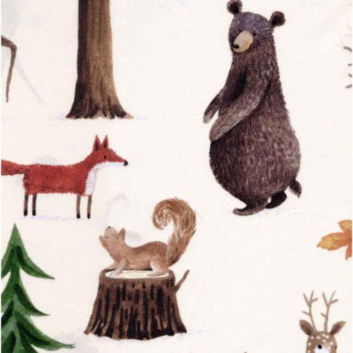 Tissu forêt en hiver fd beige 100% coton percale larg 140cm