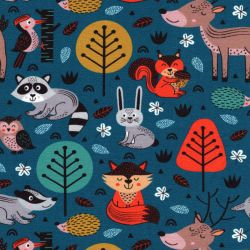 Tissu French Terry animaux foret fond bleu