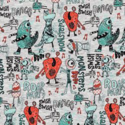 Tissu french terry Dancing monsters 60%cot/35%pl/5%el larg 1