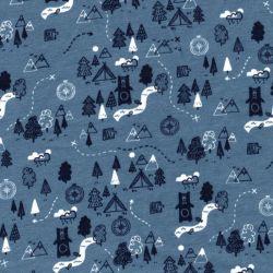 Tissu sweat fin foret bleu 95%cot BIO/5%el larg 150 cm