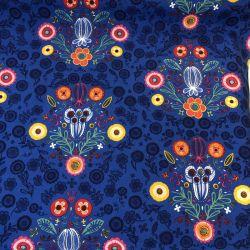 Tissu inspiration scandinave fond bleu