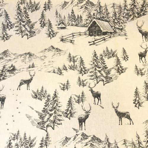 Tissu chalet en montagne fond beige