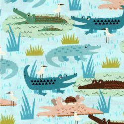 Tissu crocodiles fond bleu