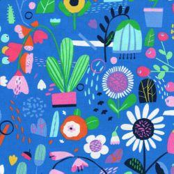 Tissu Ayumi fond bleu