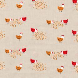 Tissu les poules fd beige 100%cot larg 140 cm