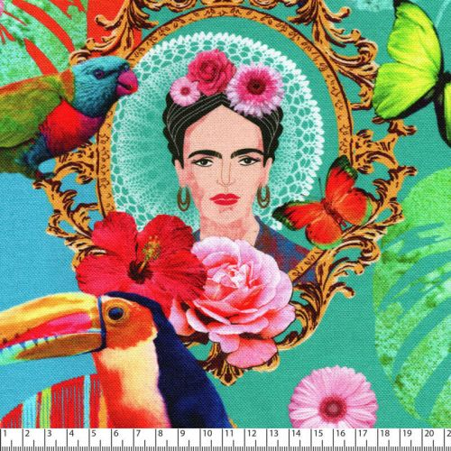 Tissu toile de coton demi-natté Frida Mexico