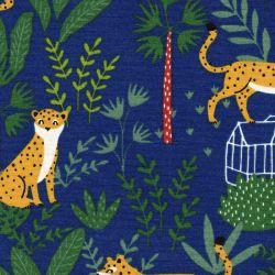Tissu toile ottoman léopard tropical bleu