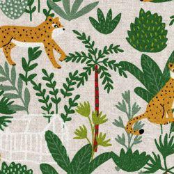 Tissu léopard tropical beige 80%cot/20%pes larg 140 cm