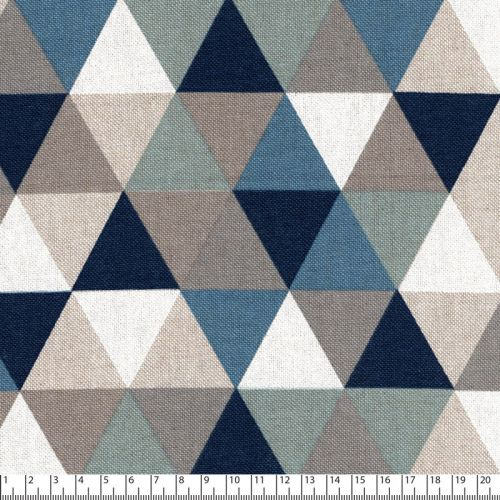 Tissu triangles bleu/beige 80%cot/20%pes larg 140 cm