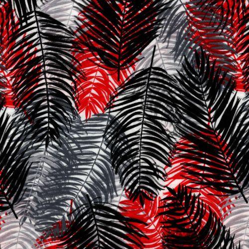 Tissu viscose palmes rouge et grises