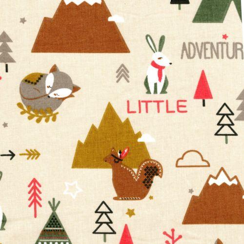 Tissu coton cretonne little adventures fond beige