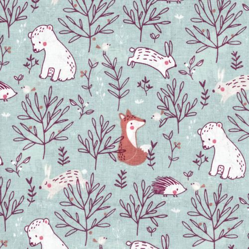Tissu coton animaux doux fd vert 100% coton larg 145 cm