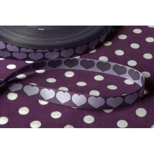 Rubans Tissés Coeur violet