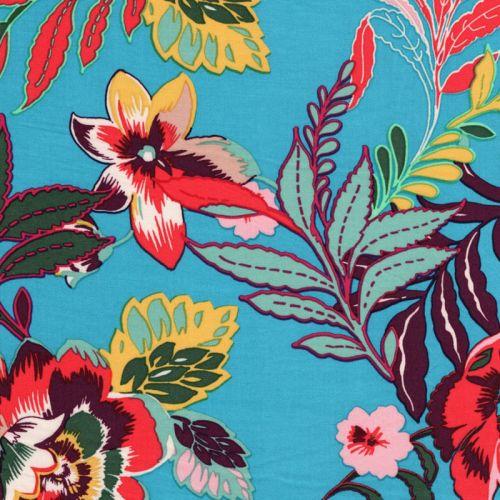 Tissu viscose grandes fleurs indiennes fond turquoise