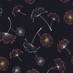 Tissu polyester dandelions fond marine