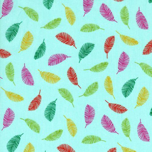 Tissu coton plumes fond céladon Poppy