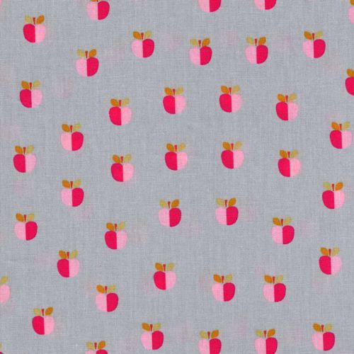 Tissu coton pommes bicolores Poppy fond gris