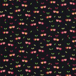 Tissu coton cerises fond noir Poppy