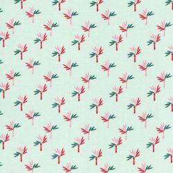 Tissu viscose palmiers fond vert d'eau