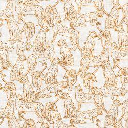 Tissu viscose et lin léopards fond beige