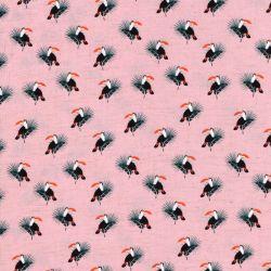 Tissu toucans fd rose 85%vis/15%lin larg 135 cm
