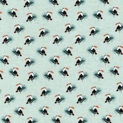 Tissu viscose et lin toucans fond céladon
