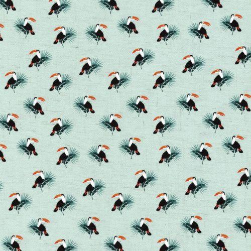 Tissu toucans fd celadon 85%vis/15%lin larg 135 cm