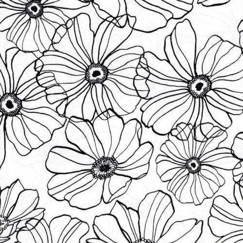 Tissu satin fleurs fd blanc 95%cot/5%el larg 145 cm