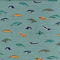 Tissu jersey dauphins/baleines fond vert Poppy