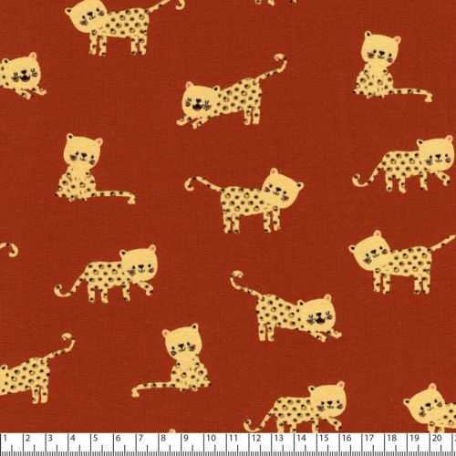 Tissu jersey leopards fond rouille Poppy