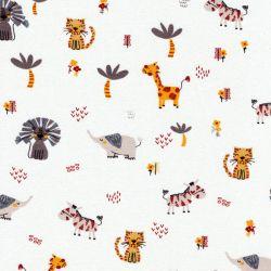 Tissu jersey animaux savane fond menthe clair Poppy