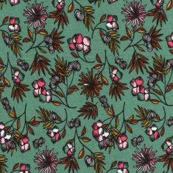 Tissu jersey fleurs fond eucalyptus Poppy