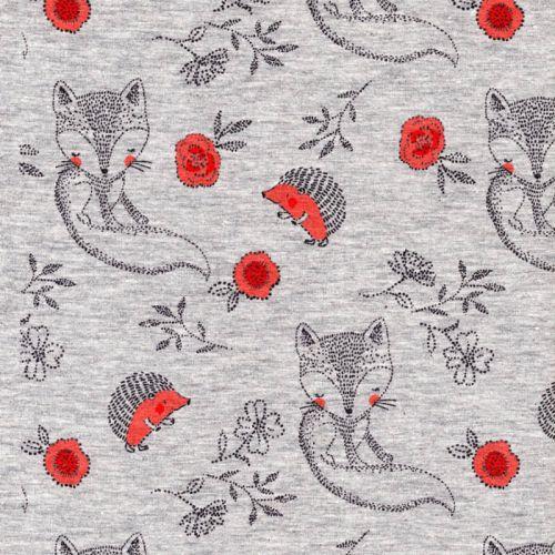 Tissu jersey hérissons fond gris chiné Poppy