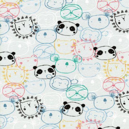 Tissu jersey BIO pandas Poppy 95%cotbio/5%el larg 150 cm